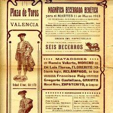 Carteles Toros: CARTEL TOROS, PLAZA VALENCIA, GALLITO , 1913 , ORIGINAL , P29. Lote 33224467