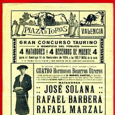 Carteles Toros: CARTEL TOROS, PLAZA VALENCIA , 1924 , ORIGINAL , P41. Lote 33224820