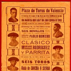 Carteles Toros: CARTEL TOROS, PLAZA VALENCIA , 1928 FALLAS , ORIGINAL , P42. Lote 33224841