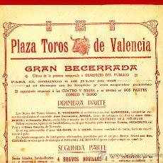 Carteles Toros: CARTEL TOROS, PLAZA VALENCIA , 1915 , BECERRADA , ORIGINAL , P45. Lote 33224903