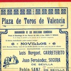 Carteles Toros: CARTEL TOROS, PLAZA VALENCIA , 1915 , NOVILLADA , ORIGINAL , P46. Lote 33224919