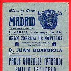 Carteles Toros: CARTEL TOROS, PLAZA MADRID , 1944 , NOVILLADA , ORIGINAL , P47. Lote 33224944