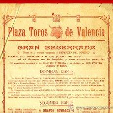 Carteles Toros: CARTEL TOROS, PLAZA VALENCIA , 1915 , BECERRADA , ORIGINAL , P48. Lote 33224974