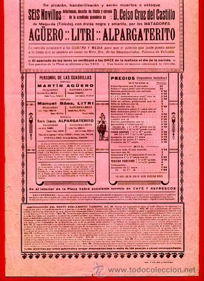 Carteles Toros: CARTEL TOROS, PLAZA DE VALENCIA CORRIDA NOVILLOS , 1924 , ORIGINAL , P3 - Foto 2 - 33223755