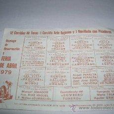 Carteles Toros: PROGRAMA DE TOROS CON PAQUIRRI AÑO 1979. Lote 33296415