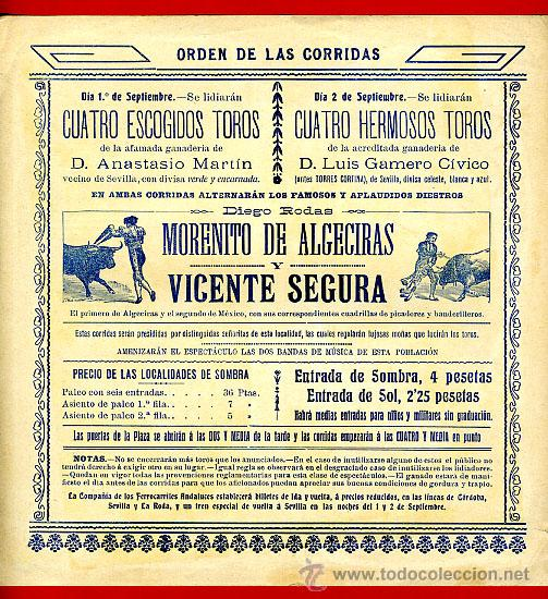 Carteles Toros: CARTEL TOROS PLAZA DE MARCHENA SEVILLA , 1909 , CROMOLITOGRAFICO. PERFECTO, UNA JOYA. - Foto 2 - 33347293