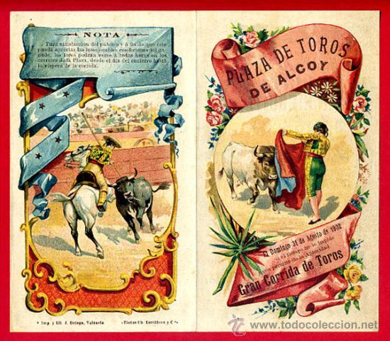 CARTEL TOROS PLAZA DE ALCOY ALICANTE , 1902 , CROMOLITOGRAFICO. PERFECTO, UNA JOYA. (Coleccionismo - Carteles Gran Formato - Carteles Toros)