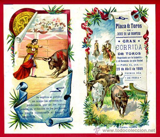 CARTEL TOROS PLAZA DE JEREZ DE LA FRONTERA , 1909 , CROMOLITOGRAFICO. PERFECTO, UNA JOYA. (Coleccionismo - Carteles Gran Formato - Carteles Toros)