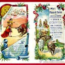 Carteles Toros: CARTEL TOROS PLAZA DE JEREZ DE LA FRONTERA , 1909 , CROMOLITOGRAFICO. PERFECTO, UNA JOYA.. Lote 33347246