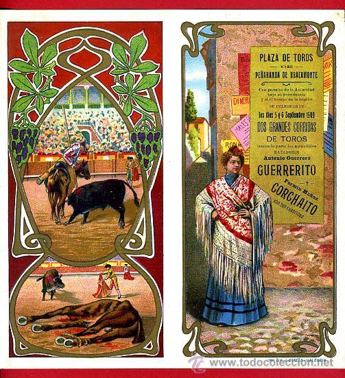 CARTEL TOROS PLAZA PEÑARANDA DE BRACAMONTE SALAMANCA , 1909 , CROMOLITOGRAFICO. PERFECTO, UNA JOYA. (Coleccionismo - Carteles Gran Formato - Carteles Toros)