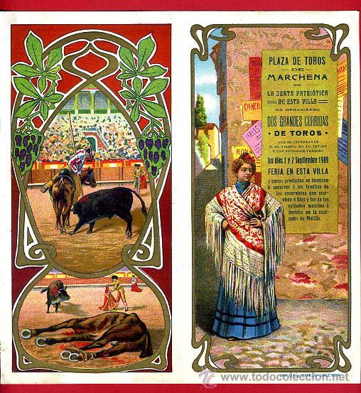 CARTEL TOROS PLAZA DE MARCHENA SEVILLA , 1909 , CROMOLITOGRAFICO. PERFECTO, UNA JOYA. (Coleccionismo - Carteles Gran Formato - Carteles Toros)