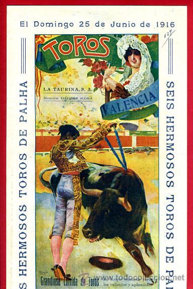CARTEL TOROS PLAZA DE VALENCIA , JUNIO 1916 , BELMONTE MEJICANO FREG SALERI II , ORIGINAL, X5 (Coleccionismo - Carteles Gran Formato - Carteles Toros)
