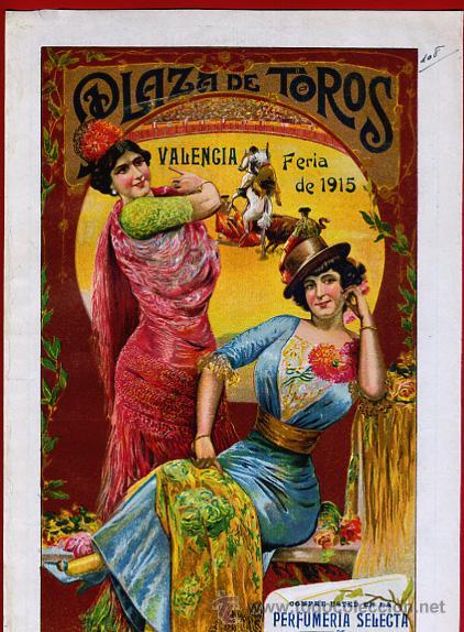 CARTEL TOROS PLAZA VALENCIA , FERIA JULIO 1915 , MANOLAS, CON PUBLICIDAD , ORIGINAL, X9 (Coleccionismo - Carteles Gran Formato - Carteles Toros)