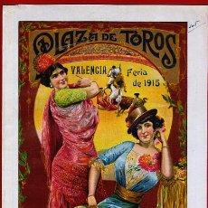 Carteles Toros: CARTEL TOROS PLAZA VALENCIA , FERIA JULIO 1915 , MANOLAS, CON PUBLICIDAD , ORIGINAL, X9. Lote 33347635