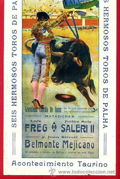 Carteles Toros: CARTEL TOROS PLAZA DE VALENCIA , JUNIO 1916 , BELMONTE MEJICANO FREG SALERI II , ORIGINAL, X5 - Foto 2 - 33347493