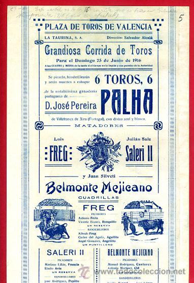 Carteles Toros: CARTEL TOROS PLAZA DE VALENCIA , JUNIO 1916 , BELMONTE MEJICANO FREG SALERI II , ORIGINAL, X5 - Foto 3 - 33347493