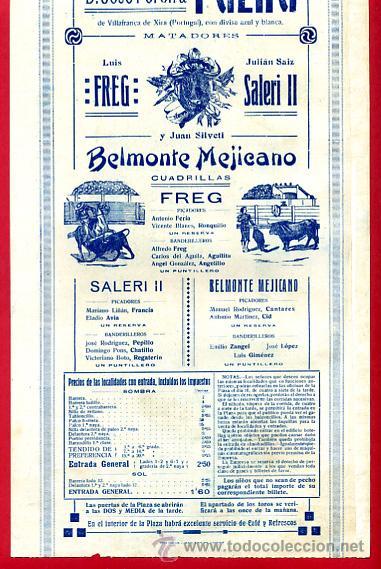 Carteles Toros: CARTEL TOROS PLAZA DE VALENCIA , JUNIO 1916 , BELMONTE MEJICANO FREG SALERI II , ORIGINAL, X5 - Foto 4 - 33347493