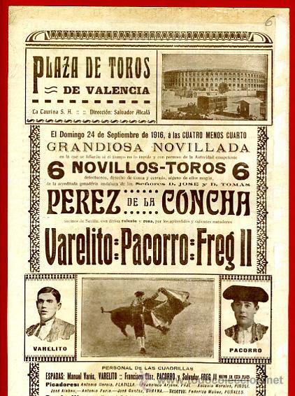 Carteles Toros: CARTEL TOROS PLAZA VALENCIA , SEPTIEMBRE 1916 , VALERITO PACORRO FREG II , ORIGINAL, X6 - Foto 3 - 33347527