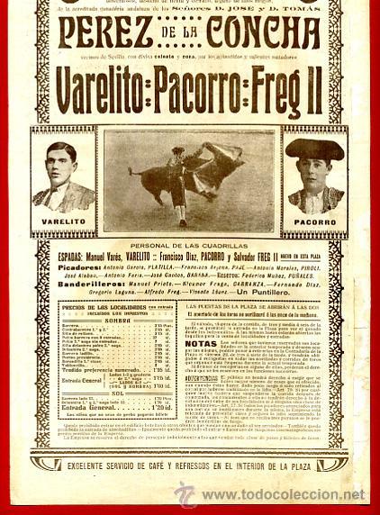 Carteles Toros: CARTEL TOROS PLAZA VALENCIA , SEPTIEMBRE 1916 , VALERITO PACORRO FREG II , ORIGINAL, X6 - Foto 4 - 33347527