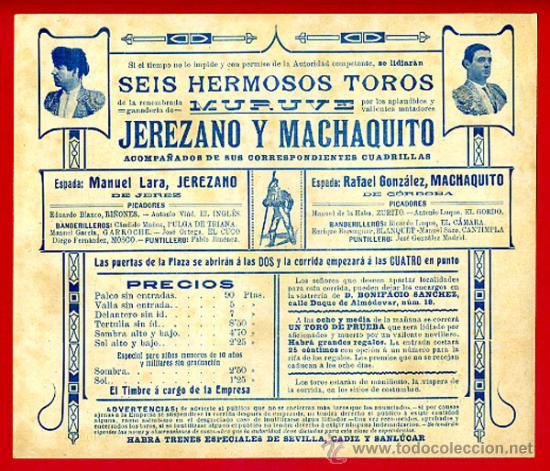 Carteles Toros: CARTEL TOROS PLAZA DE JEREZ DE LA FRONTERA , 1909 , CROMOLITOGRAFICO. PERFECTO, UNA JOYA. - Foto 2 - 33347246