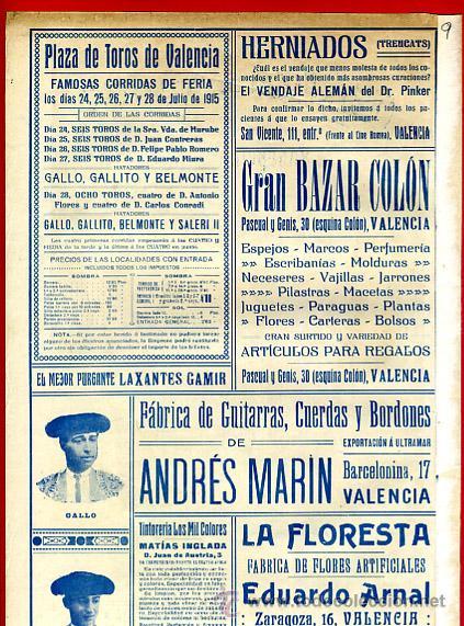 Carteles Toros: CARTEL TOROS PLAZA VALENCIA , FERIA JULIO 1915 , MANOLAS, CON PUBLICIDAD , ORIGINAL, X9 - Foto 3 - 33347635