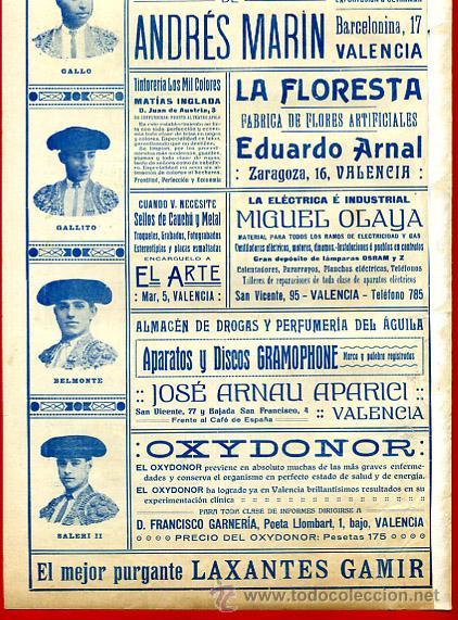 Carteles Toros: CARTEL TOROS PLAZA VALENCIA , FERIA JULIO 1915 , MANOLAS, CON PUBLICIDAD , ORIGINAL, X9 - Foto 4 - 33347635