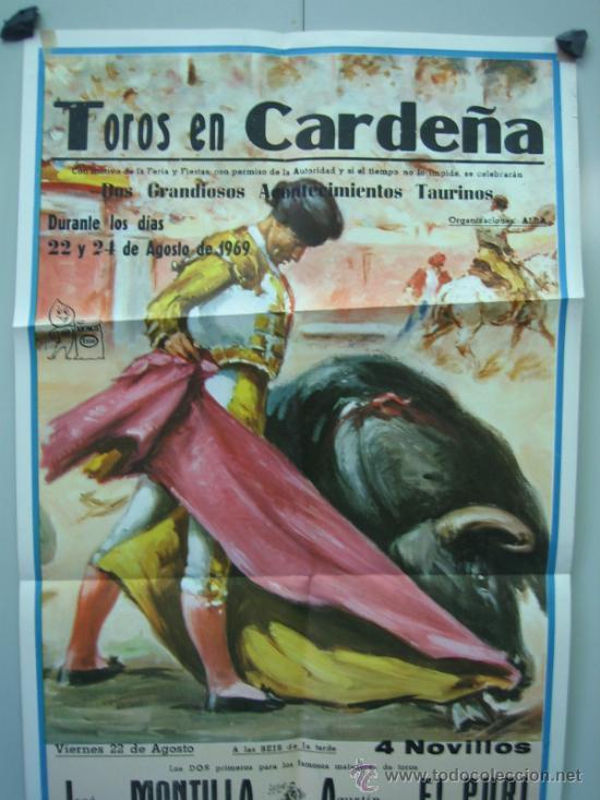Carteles Toros: Cartel plaza de toros de CARDEÑA 1969 Medidas 39x79 cm - Foto 2 - 33538580