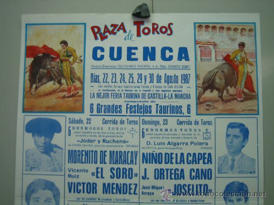 Carteles Toros: Cartel plaza de toros de CUENCA 1987. Medidas 29x44 cm - Foto 2 - 33553462