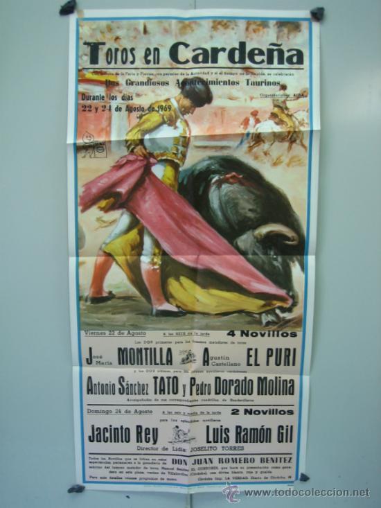 CARTEL PLAZA DE TOROS DE CARDEÑA 1969 MEDIDAS 39X79 CM (Coleccionismo - Carteles Gran Formato - Carteles Toros)