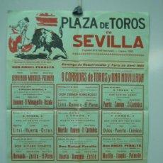 Carteles Toros: CARTEL PLAZA DE TOROS DE SEVILLA 1965. MEDIDAS 30X43 CM. Lote 33553089