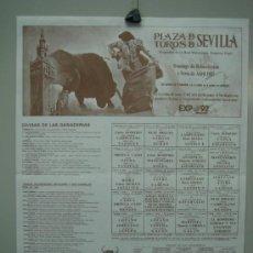 Carteles Toros: CARTEL PLAZA DE TOROS DE SEVILLA 1987. MEDIDAS 32X43 CM. Lote 33553443
