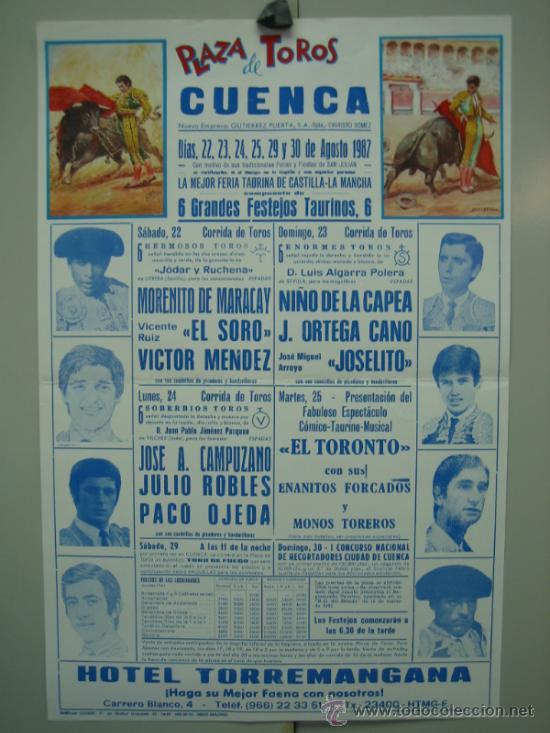 CARTEL PLAZA DE TOROS DE CUENCA 1987. MEDIDAS 29X44 CM (Coleccionismo - Carteles Gran Formato - Carteles Toros)