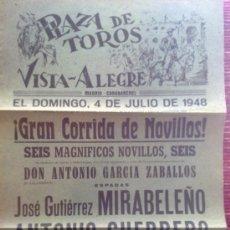 Carteles Toros: CARTEL TOROS - VISTA ALEGRE - MADRID - CARABANCHEL - 1948 - ORIGINAL - VER FOTOS ADICIONALES - CT1. Lote 33874292