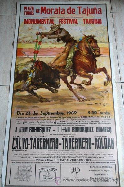 CARTEL DE TOROS DE MORATA DE TAJUÑA. 24 DE SEPTIEMBRE DE 1989. MONUMENTAL FESTIVAL TAURINO. (Coleccionismo - Carteles Gran Formato - Carteles Toros)