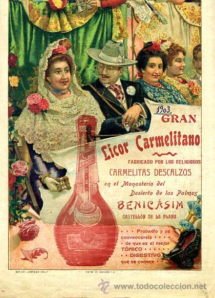 Carteles Toros: CARTEL TOROS, PLAZA CASTELLON , FERIA 1903 , PUBLICIDAD LICOR CARMELITANO , ORIGINAL , Y124 - Foto 2 - 34279322
