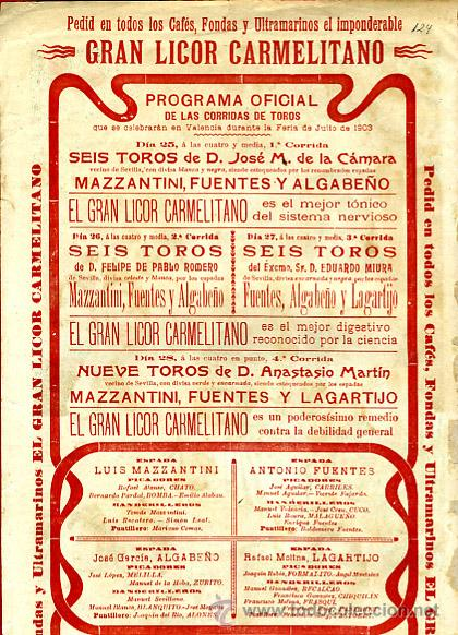 Carteles Toros: CARTEL TOROS, PLAZA CASTELLON , FERIA 1903 , PUBLICIDAD LICOR CARMELITANO , ORIGINAL , Y124 - Foto 3 - 34279322