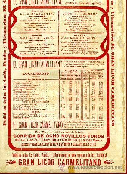 Carteles Toros: CARTEL TOROS, PLAZA CASTELLON , FERIA 1903 , PUBLICIDAD LICOR CARMELITANO , ORIGINAL , Y124 - Foto 4 - 34279322