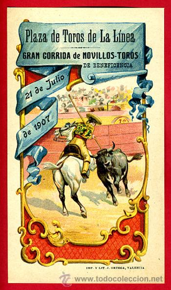 CARTEL , CARTELITO TOROS, FIGUERAS , GERONA , 1907 , LITOGRAFIA , ANTIGUO ,ORIGINAL (Coleccionismo - Carteles Gran Formato - Carteles Toros)