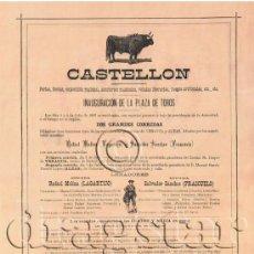 Carteles Toros: CARTEL INAUGURAL PLAZA DE TOROS DE CASTELLON LOS DIAS 3 Y 4 JULIO DE 1887. Lote 35957122