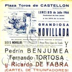Carteles Toros: CARTEL PLAZA DE TOROS DE CASTELLON 1966. Lote 35961347