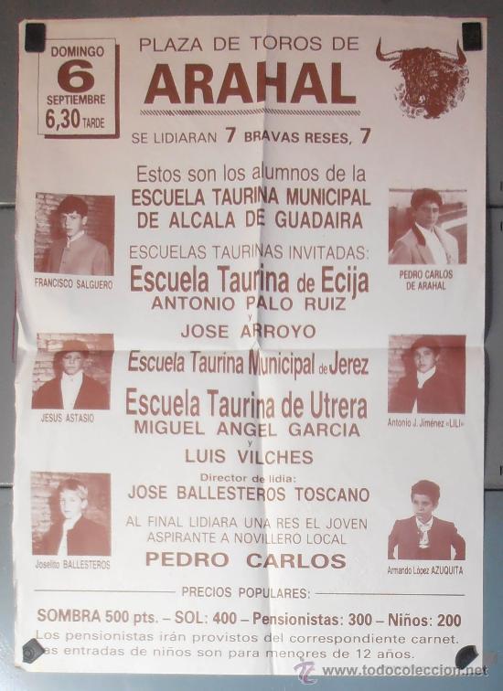 CARTEL 70X50 CM APROX, PLAZA DE TOROS DE ARAHAL, SEVILLA,VER FOTO (9000) (Coleccionismo - Carteles Gran Formato - Carteles Toros)