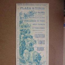 Carteles Toros: CARTEL DE TOROS PLAZA DE VALENCIA 29 DE JUNIO 1913. Lote 36805069