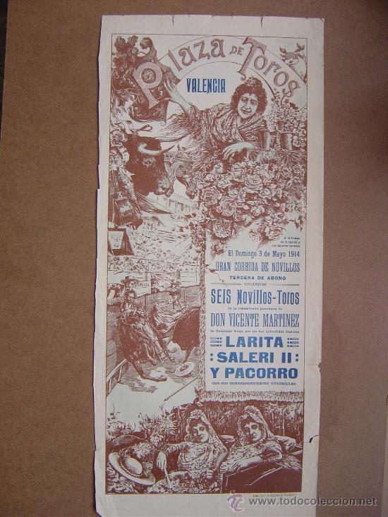 CARTEL DE TOROS PLAZA DE VALENCIA 03 DE MAYO 1914 (Coleccionismo - Carteles Gran Formato - Carteles Toros)