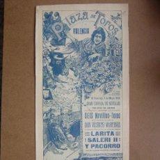 Carteles Toros: CARTEL DE TOROS PLAZA DE VALENCIA 03 DE MAYO 1914. Lote 36807624