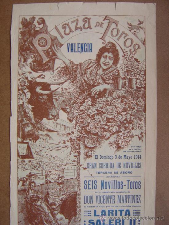 Carteles Toros: CARTEL DE TOROS PLAZA DE VALENCIA 03 DE MAYO 1914 - Foto 2 - 36807566