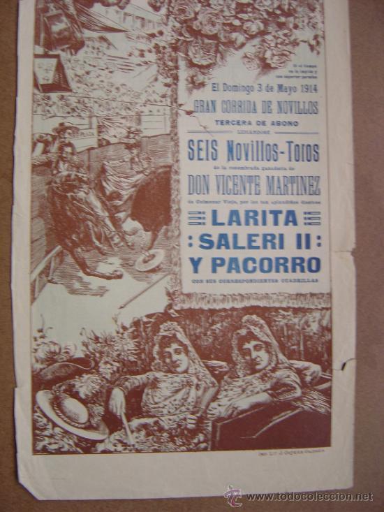 Carteles Toros: CARTEL DE TOROS PLAZA DE VALENCIA 03 DE MAYO 1914 - Foto 3 - 36807566
