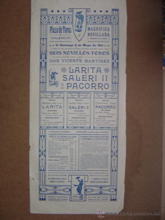 Carteles Toros: CARTEL DE TOROS PLAZA DE VALENCIA 03 DE MAYO 1914 - Foto 4 - 36807566