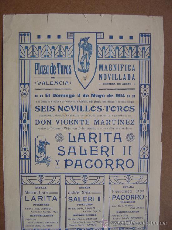Carteles Toros: CARTEL DE TOROS PLAZA DE VALENCIA 03 DE MAYO 1914 - Foto 5 - 36807566