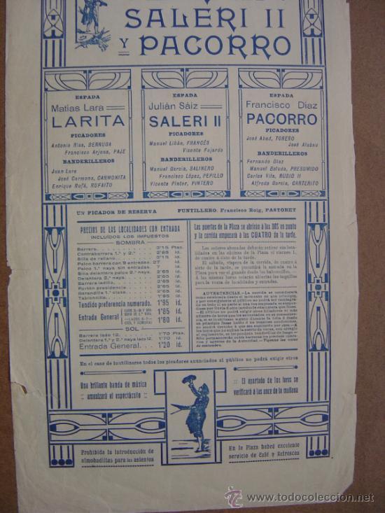 Carteles Toros: CARTEL DE TOROS PLAZA DE VALENCIA 03 DE MAYO 1914 - Foto 6 - 36807566
