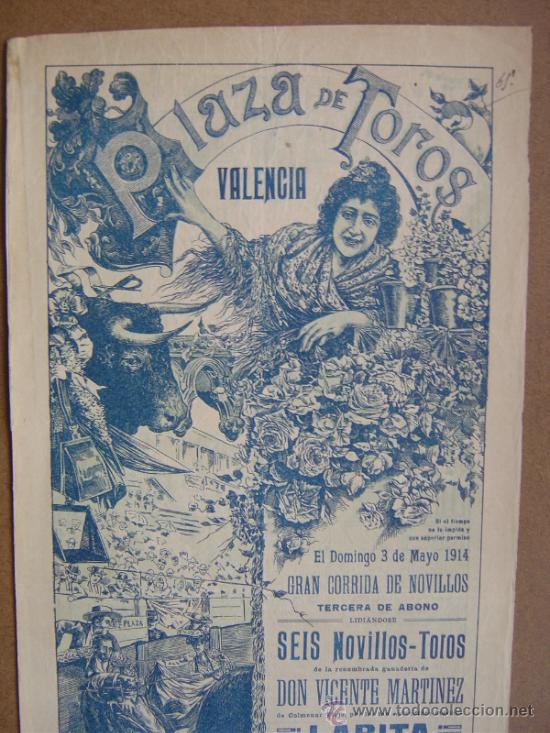 Carteles Toros: CARTEL DE TOROS PLAZA DE VALENCIA 03 DE MAYO 1914 - Foto 2 - 36807624